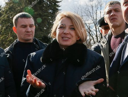 Natalia Poklonskaya (C), member of Russian parliament and former Crimean Prosecutor Chief, takes part in unveiling ceremony of commemorative plate dedicated to 5th anniversary of Russian Spring and annexation of Crimea in the separatist-held Makeevka city in Donetsk area, Ukraine, 22 March 2019.