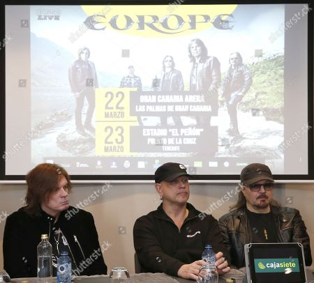 Stock Picture of Members of Swedish music group Europe John Leven, Ian Haughland and Mic Michaelli attend a press conference during the presentation of the concerts that will be held in Spain (Gran Canaria and Tenerife), as part of their world tour 'The Earth 2019', in Gran Canaria, Canary Islands, Spain, 22 March 2019. The music group Europe became popular in the 1980s for major hit 'The Final Countdown'.