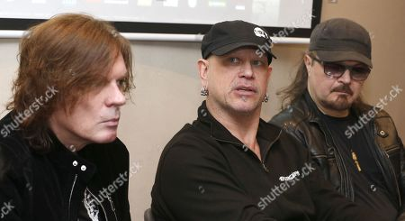 Members of Swedish music group Europe John Leven, Ian Haughland and Mic Michaelli attend a press conference during the presentation of the concerts that will be held in Spain (Gran Canaria and Tenerife), as part of their world tour 'The Earth 2019', in Gran Canaria, Canary Islands, Spain, 22 March 2019. The music group Europe became popular in the 1980s for major hit 'The Final Countdown'.