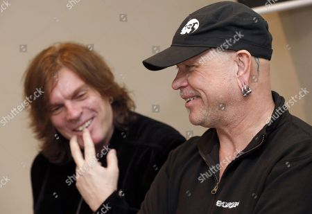 Members of Swedish music group Europe John Leven and Ian Haughland attend a press conference during the presentation of the concerts that will be held in Spain (Gran Canaria and Tenerife), as part of their world tour 'The Earth 2019', in Gran Canaria, Canary Islands, Spain, 22 March 2019. The music group Europe became popular in the 1980s for major hit 'The Final Countdown'.