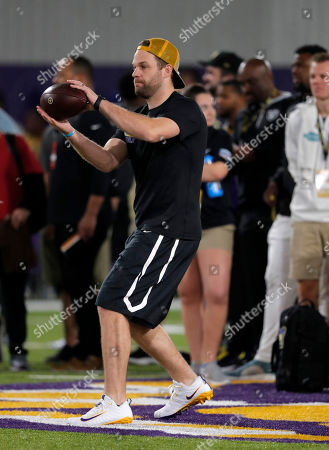 Stock Image of Former LSU and NFL quarterback Matt Flynn, throws during LSU NFL Pro Timing Day at their NCAA football training facility in Baton Rouge, La
