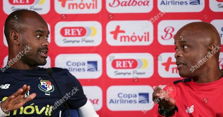 Panama's Adolfo Machado and coach Dely Valdes talk during a news conference at the Dragao stadium in Porto, Portugal, . Brazil will face Panama in a friendly soccer match March 23 in Porto