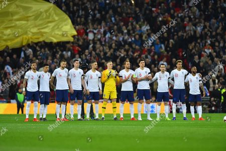 England players giving a minutes applause for the late Gordon Banks during the UEFA European 2020 Qualifier match between England and Czech Republic at Wembley Stadium, London