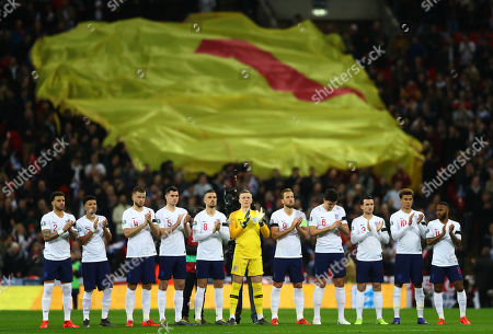 Stock Picture of England players during a minutes applause for the late Gordon Banks