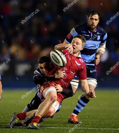 Cardiff Blues vs Scarlets. Scarlets' Rob Evans