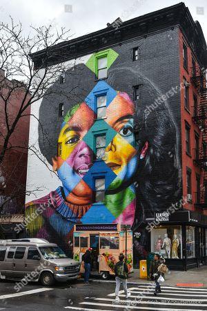 Stock Image of Michael Jackson mural by Brazilian street artist Eduardo Kobra on the corner of East 11th Street and 1st Avenue in Manhattan's East Village.