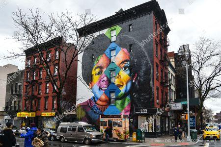 Editorial photo of Michael Jackson mural by Brazilian street artist Eduardo Kobra, New York, USA - 22 Mar 2019