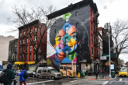 Editorial image of Michael Jackson mural by Brazilian street artist Eduardo Kobra, New York, USA - 22 Mar 2019