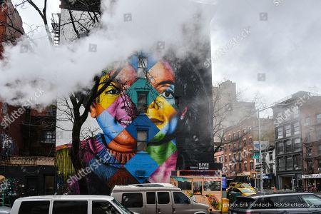 Michael Jackson mural by Brazilian street artist Eduardo Kobra on the corner of East 11th Street and 1st Avenue in Manhattan's East Village.