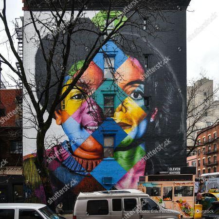 Stock Photo of Michael Jackson mural by Brazilian street artist Eduardo Kobra on the corner of East 11th Street and 1st Avenue in Manhattan's East Village.