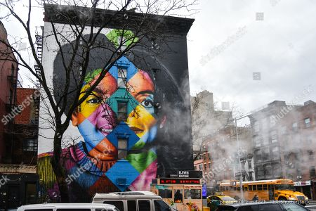 Stock Picture of Michael Jackson mural by Brazilian street artist Eduardo Kobra on the corner of East 11th Street and 1st Avenue in Manhattan's East Village.