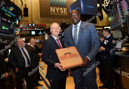 Shaquille O'Neal, Steve Ritchie. NBA Hall of Famer and restaurateur Shaquille O'Neal and Steve Ritchie, President and CEO of Papa John's, are seen at the New York Stock Exchange, after Papa John's announced that O'Neal will be joining Papa John's as a member of the Company's Board of Directors and as an investor in nine Papa John's restaurants in the Atlanta area. In addition, Mr. O'Neal will enter into a marketing agreement to be an ambassador for the Papa John's brand