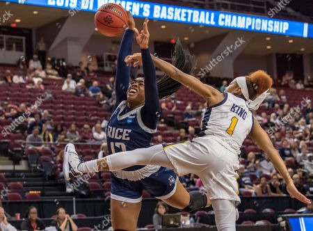 Rice Owls guard Erica Ogwumike (13) gets fouled by Marquette Golden Eagles guard Danielle King (1) during the first half in the first round of the NCAA Tournament at Reed Arena in College Station, TX, USA Then score at the half Marquette leads Rice 20-19 ©Maria Lysaker/CSM