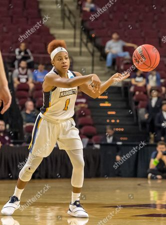 Marquette Golden Eagles guard Danielle King (1) passes the ball during overtime in the first round of the NCAA Tournament at Reed Arena in College Station, TX, USA The score Marquette wins Rice 58-54 ©Maria Lysaker/CSM