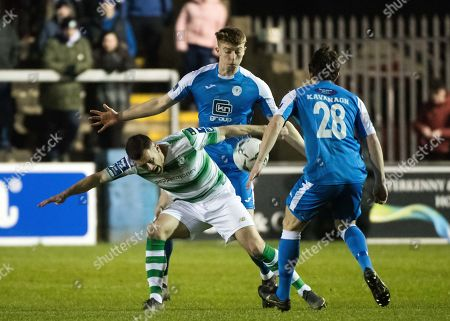 Finn Harps vs Shamrock Rovers. Finn Harps' Sam Todd and Aaron Greene of Shamrock Rovers
