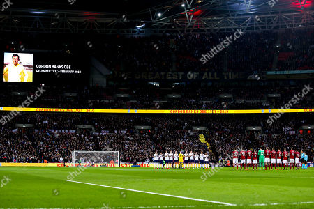 England players observe a minutes applause to mark the passing of Gordon Banks