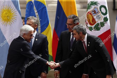 The president of Chile, Sebastián Piñera (L); the president of Argentina, Mauricio Macri (C-L); the president of Peru, Martin Vizcarra (C-R), and the president of Paraguay, Mario Abdo Benitez (R), participate in the signing of the agreement for the creation of the integration project for South America: Prosur, in Santiago, Chile, on 22 March 2019.
