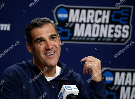 Villanova head coach Jay Wright speaks during a news conference at the men's college basketball NCAA Tournament, in Hartford, Conn. Villanova will play Purdue in the second round on Saturday