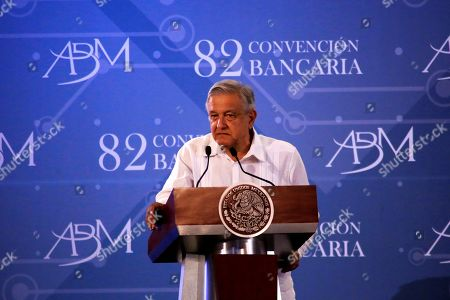 The President of Mexico Andres Manuel Lopez Obrador participates in the closing of the 82 banking convention, in Acapulco, in the state of Gurerrero, Mexico, 22 March 2019. Obrador assured the representatives of the Mexican bank that his government will not promote any law that regulates the collection of banking commissions.