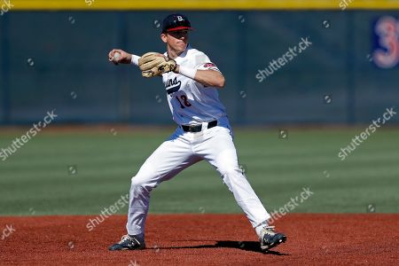 Stock Photo of Belmont's Grayson Taylor throws to first base during an NCAA college baseball game against Southern Illinois, in Nashville, Tenn