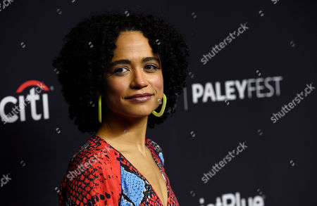 """Lauren Ridloff, a cast member in the television series """"The Walking Dead,"""" poses during the 36th Annual PaleyFest, Friday, in Los Angeles"""