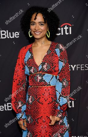 """Lauren Ridloff, a cast member in the television series """"The Walking Dead,"""" poses during the 36th Annual PaleyFest, in Los Angeles"""