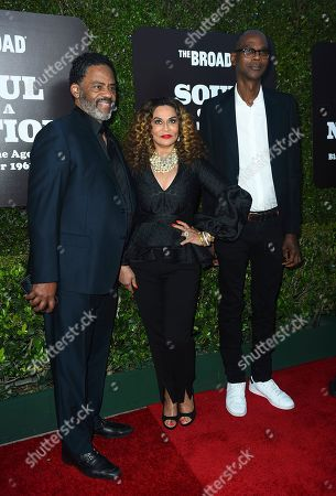 Stock Photo of Richard Lawson, Tina Knowles Lawson, Mark Bradford. From left, Richard Lawson, Tina Knowles Lawson and Mark Bradford arrive at The Broad Presents West Coast Debut of 'Soul of a Nation: Art in the Age of Black Power 1963-1983' on in Los Angeles