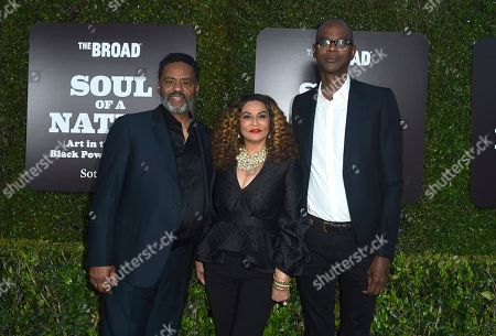 Richard Lawson, Tina Knowles Lawson, Mark Bradford. From left, Richard Lawson, Tina Knowles Lawson and Mark Bradford arrive at The Broad Presents West Coast Debut of 'Soul of a Nation: Art in the Age of Black Power 1963-1983' on in Los Angeles