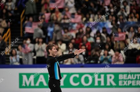 Jason Brown from the U.S. acknowledges the crowd after performing his men's free skating routine during the ISU World Figure Skating Championships at Saitama Super Arena in Saitama, north of Tokyo