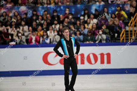 Jason Brown from the U.S. acknowledges the crowd after his men's free skating routine during the ISU World Figure Skating Championships at Saitama Super Arena in Saitama, north of Tokyo