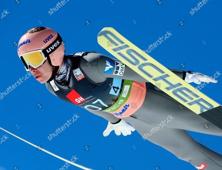 Austria's Stefan Kraft competes in the team competition at the Ski Jumping World Cup event in Planica, Slovenia