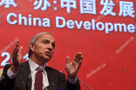 Bridgewater Associates Chairman Ray Dalio speaks during the Economic Summit held for the China Development Forum in Beijing, China