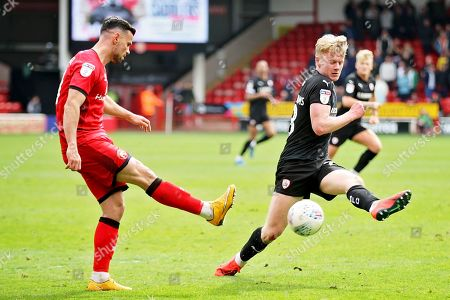 Barnsley forward Jacob Brown (33) misses this overhead kick during the EFL Sky Bet League 1 match between Walsall and Barnsley at the Banks's Stadium, Walsall