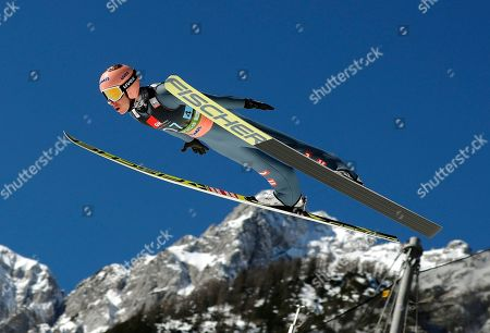 Stock Image of Stefan Kraft of Austria in action during the  World Cup Ski Flying Hill Team Final HS 240 in Planica, Slovenia, 23 March 2019.