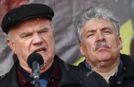 Russian businessman and former presidential candidate from the Communist party of Russian Federation Pavel Grudinin (R) and the party leader Gennady Zyuganov take part in anti-government rally in Moscow, Russia, 23 March 2019. Participants of the rally demand to change the social economic course of the development of Russia.