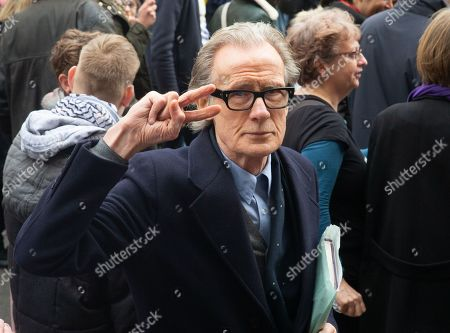 Actor Bill Nighy on the march. More than a million people march through central London calling for another EU referendum in what is called 'The People's March'. They joined a rally in front of parliament.