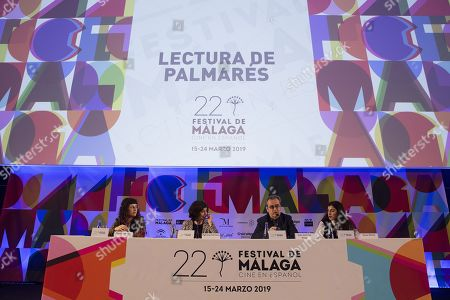 Stock Image of Malaga Film Festival's Director, Juan Antonio Vigar (2-R), and Jury's President, Patricia Ferreira (2-L), announce the winners of 22the Malaga Film Festival, at Albeniz Theater in Malaga, southern Spain, 23 March 2019. The Spanish film 'Los Dias Que Vendran' (The Days to Come). by director Carlos Marques-Marcet, was awarded Festival's Best Film.