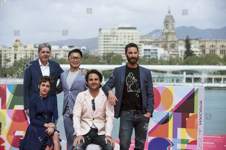 Spanish film director Alvaro Diaz Lorenzo (2-R) and cast members (from left) Maria Leon (front), Antonio Dechent, Ryo Matsumoto and Dani Rovira pose for the photographers during the presentation of the Spanish film 'Los Japon' as part of the Malaga Film Festival, in Malaga, southern Spain, 23 March 2019.