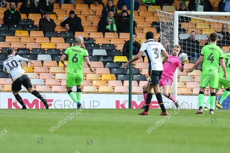 Port Vale's Ricky Miller(10) shoots at goal saved by Forest Green Rovers goalkeeper Lewis Ward(34) during the EFL Sky Bet League 2 match between Port Vale and Forest Green Rovers at Vale Park, Burslem