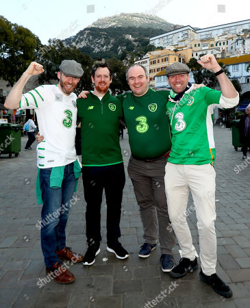 Stock Picture of Gibraltar vs Republic of Ireland. Ireland fans Aidan O'Connor, Rory Shields, Brian Holland and Peter Kinnevey from Galway City