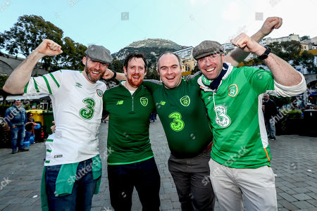 Gibraltar vs Republic of Ireland. Ireland fans Aidan O'Connor, Rory Shields, Brian Holland and Peter Kinnevey from Galway City