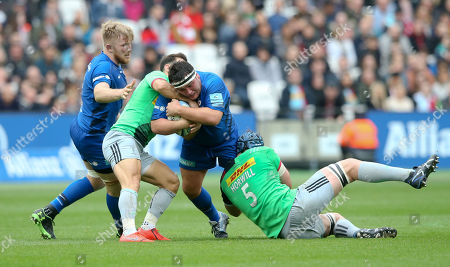 Jamie George of Saracens tackled by Danny Care & James Horwill (Co-Captain) of Harlequins