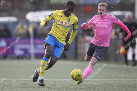 Stock Picture of Rakim Richards of Haringey during Haringey Borough vs Enfield Town, Bostik League Premier Division Football at Coles Park Stadium on 23rd March 2019