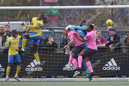 Rakim Richards of Haringey clears an Enfield attack during Haringey Borough vs Enfield Town, Bostik League Premier Division Football at Coles Park Stadium on 23rd March 2019
