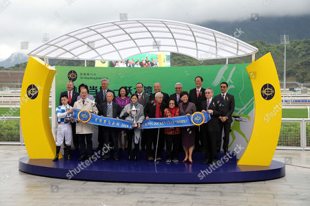 Stock Photo of , Conghua, China, Winners presentation. Nordic Warrior with Matthew Chadwick up wins the Hong Kong Jockey Club Trophy, the first ever race in Conghua racecourse history at Conghua racecourse.