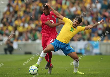 Stock Picture of Brazil's Lucas Paqueta fights for the ball with Panama's Michael Amir Murillo, left, during the friendly soccer match between Brazil and Panama at the Dragao stadium in Porto, Portugal
