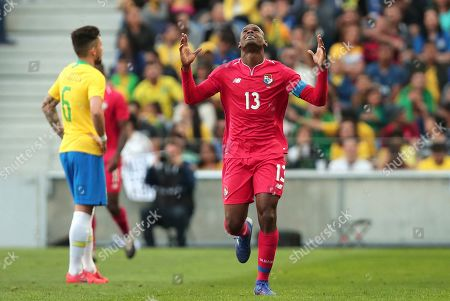 Stock Image of Panama's Adolfo Machado celebrates after scoring his side's first goal during the friendly soccer match between Brazil and Panama at the Dragao stadium in Porto, Portugal