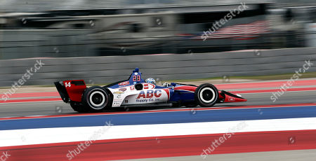 A.J. Foyt Enterprises driver Tony Kanaan (14), of Brazil, during an open practice session for the IndyCar Classic auto race, in Austin, Texas