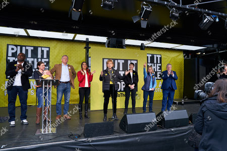 David Lammy, Jo Swinson, Phillip Lee, Rosena Allin-Khan, Anna Soubry, Caroline Lucas, Justine Greening and Ian Blackford address the People's Vote rally in Parliament Square