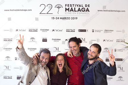 Spanish filmmaker and Best Director winner Carlos Marques-Marcet (2-R), Best Actress winner Maria Rodriguez Soto (2-L), and producers Sergi Moreno (R) and Tono Folguera (L) celebrate at the Cervantes theater during the Malaga Film Festival, in Malaga, Spain, 23 March 2019. Their movie 'Los Dias Que Vendran' (The Days to Come) won the festival's Best Film (Biznaga de Oro) award. The festival takes place from 15 to 24 March.